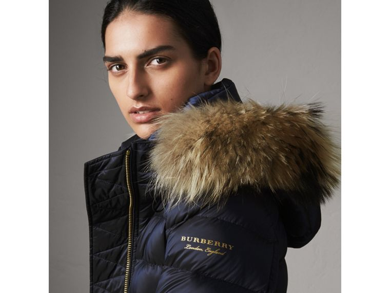 Detachable Fur Trim Down-filled Puffer Coat with Hood in Navy - Women | Burberry - cell image 1