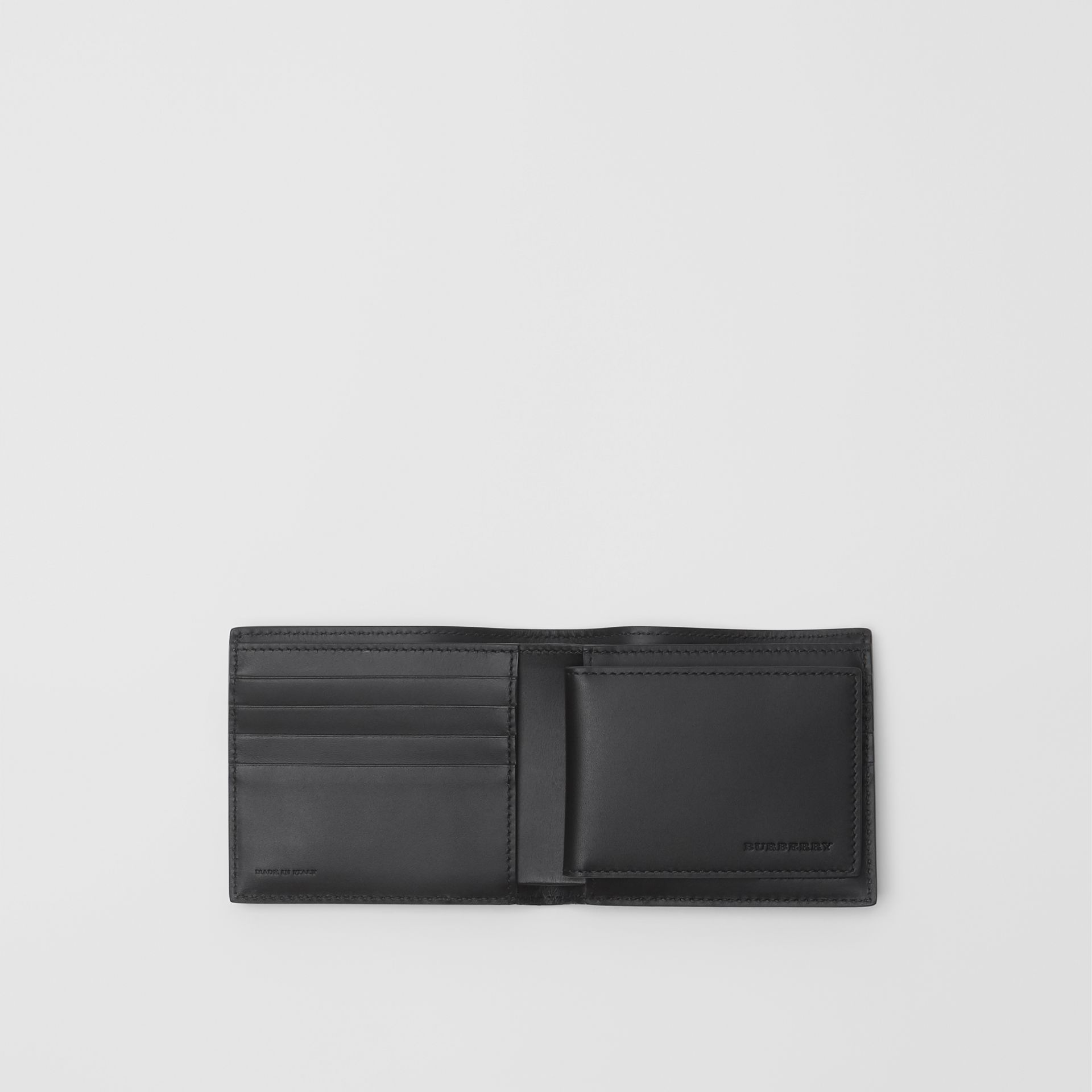 London Leather Bifold Wallet with ID Card Case in Navy - Men | Burberry Australia - gallery image 2