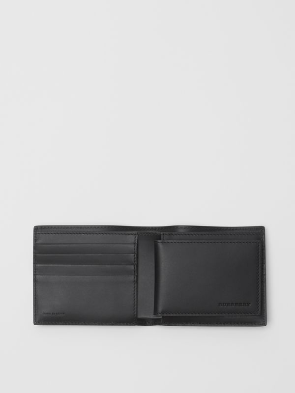 London Leather Bifold Wallet with ID Card Case in Navy - Men | Burberry Australia - cell image 2