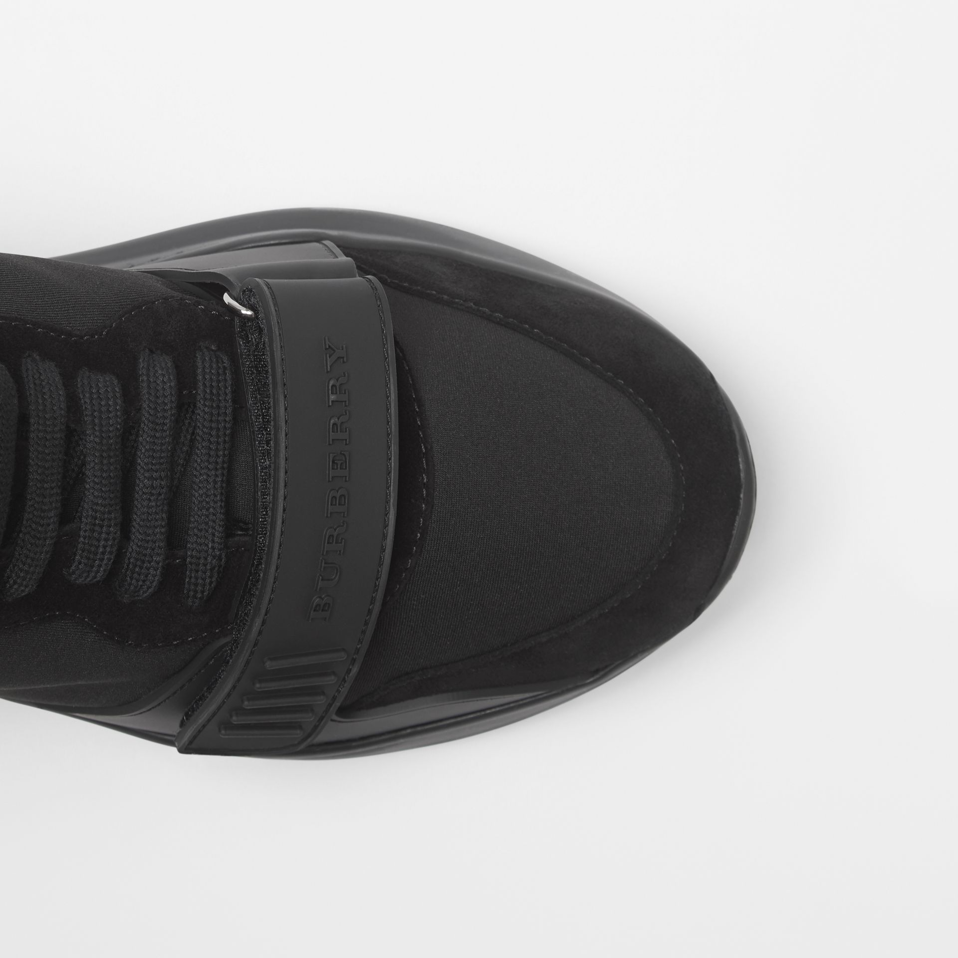 Suede and Neoprene High-top Sneakers in Black | Burberry Canada - gallery image 5