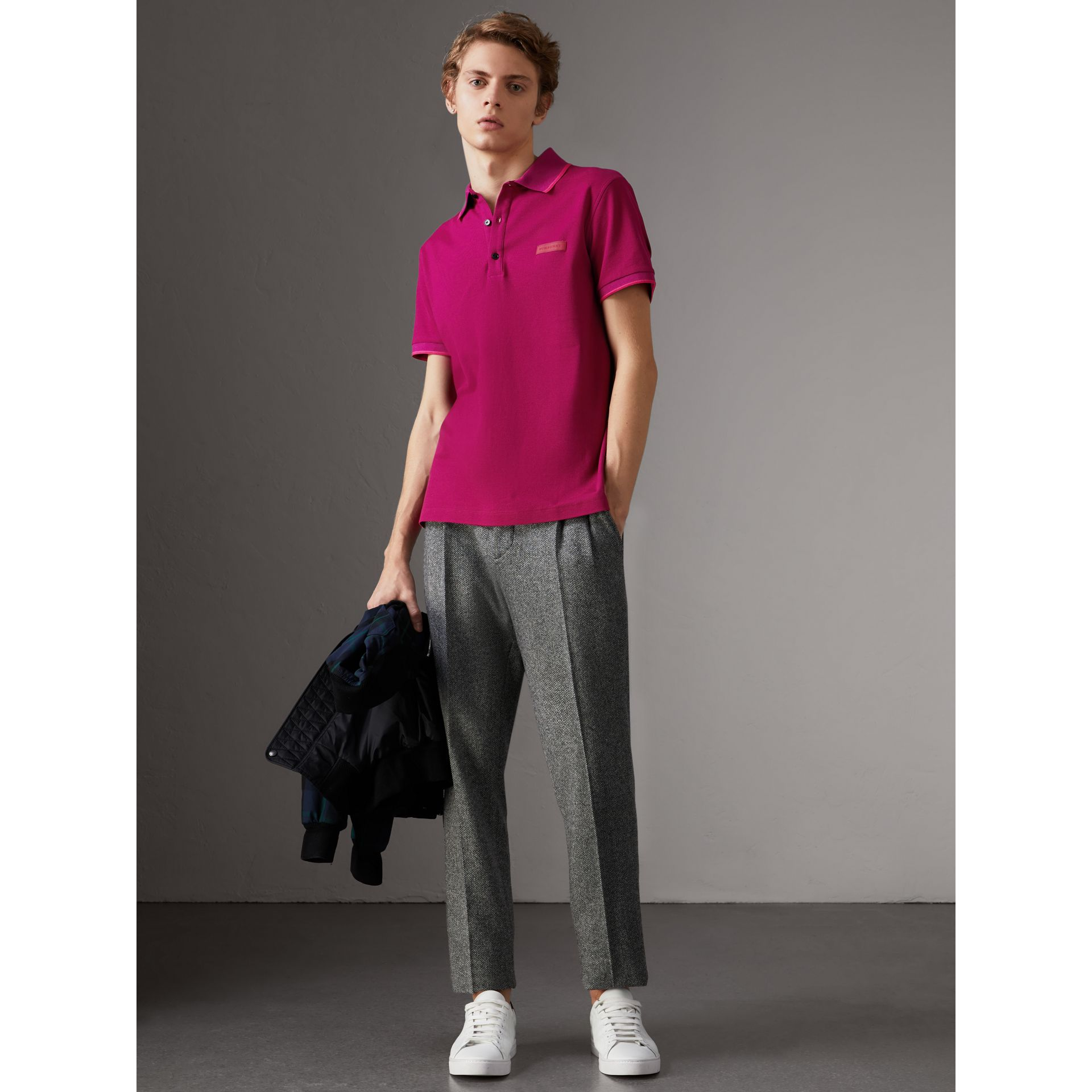 Cotton Piqué Polo Shirt in Bright Fuchsia - Men | Burberry - gallery image 0
