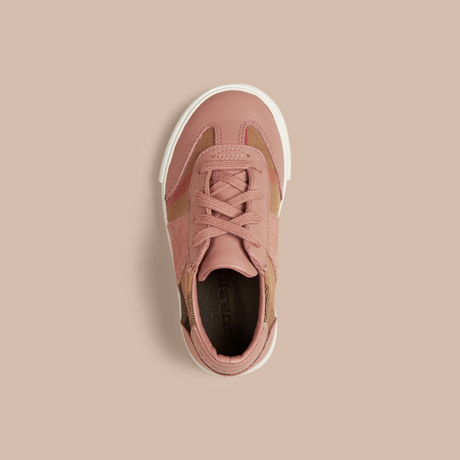 Nude blush House Check and Leather Trainers Nude Blush - gallery image 3