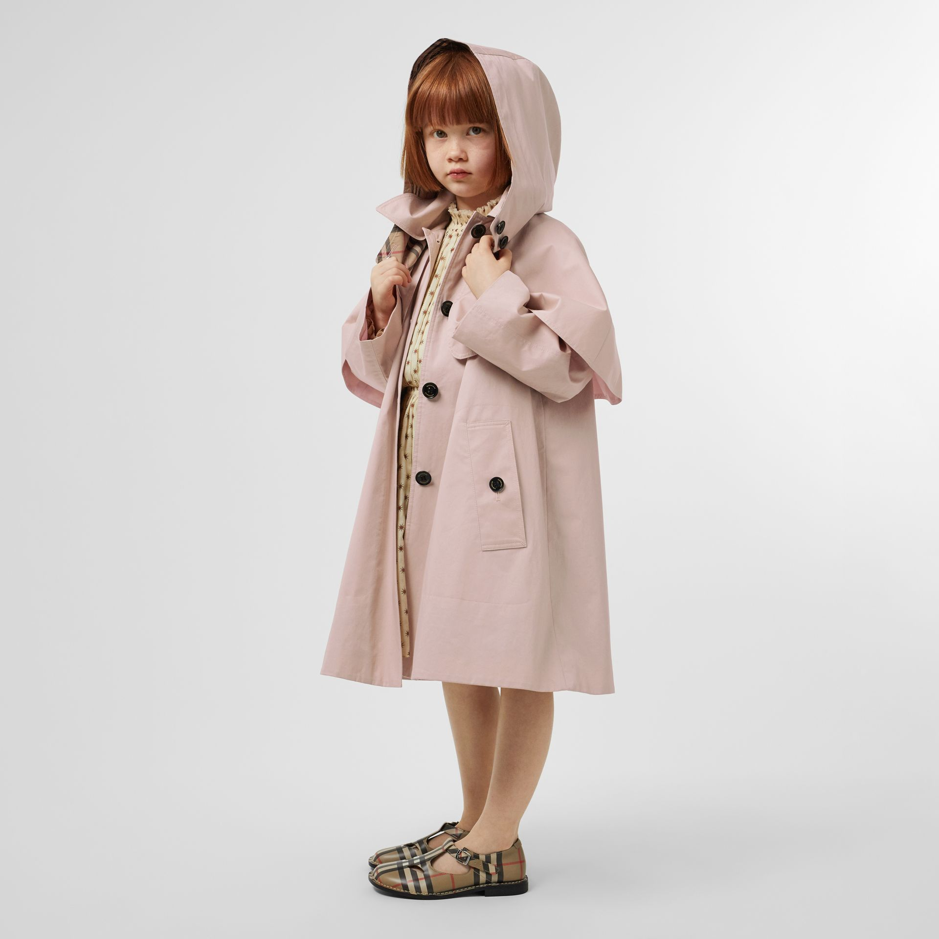 Detachable Hood Showerproof Cotton Swing Coat in Ice Pink | Burberry - gallery image 2