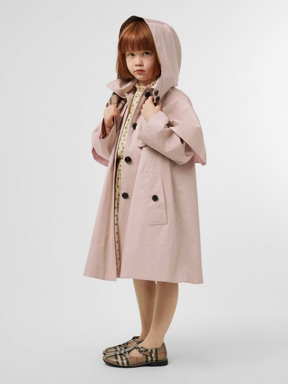 Detachable Hood Showerproof Cotton Swing Coat in Ice Pink