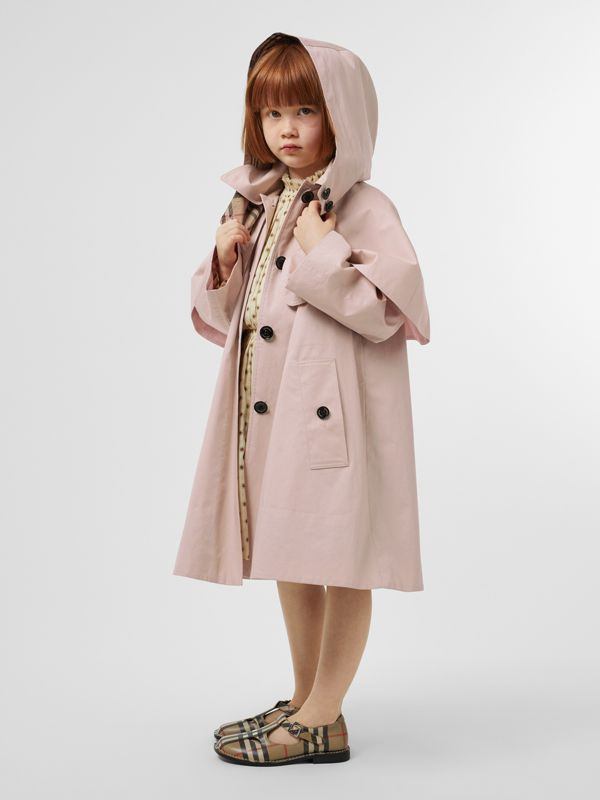 Detachable Hood Showerproof Cotton Swing Coat in Ice Pink | Burberry - cell image 2