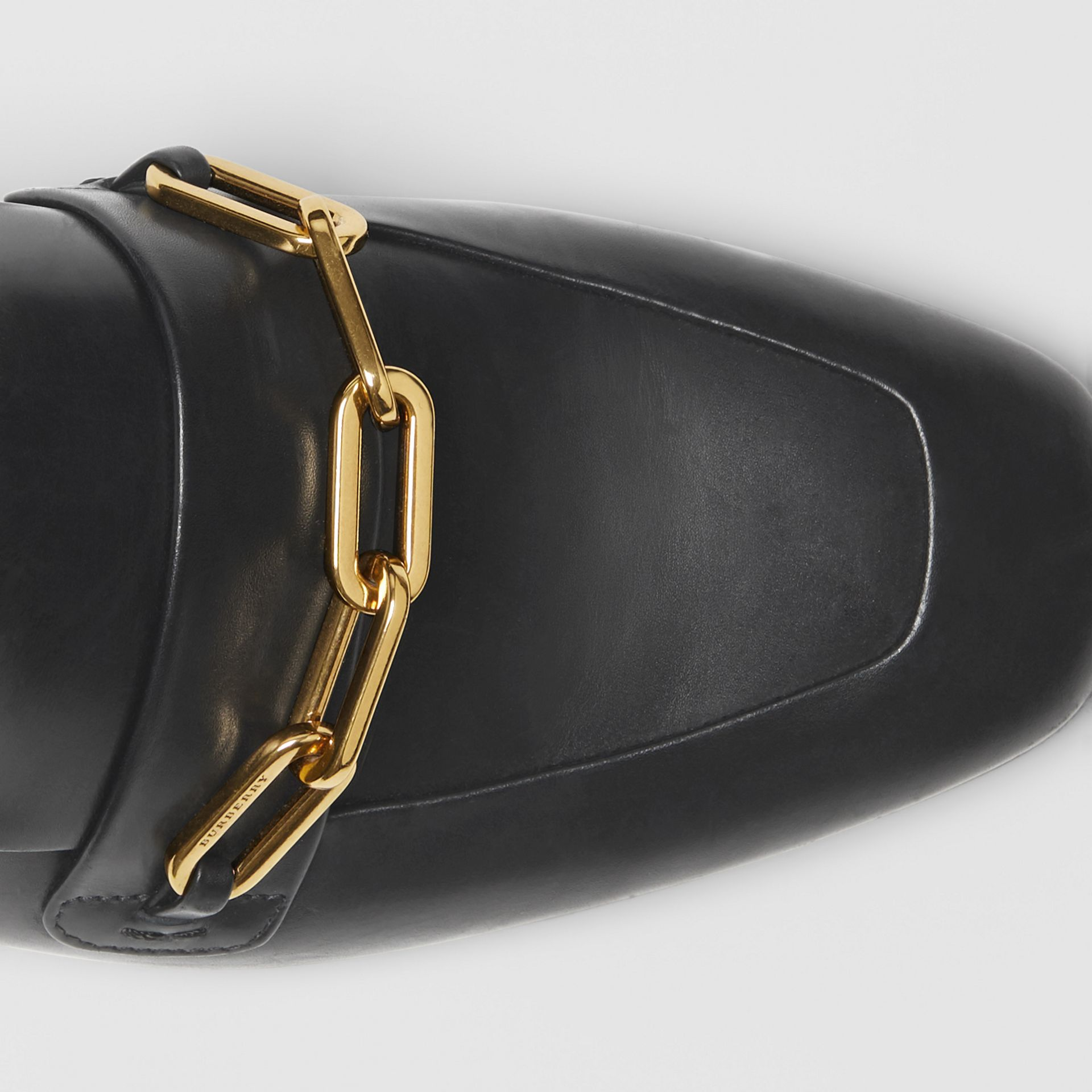 Link Detail Leather Slingback Loafers in Black - Women | Burberry - gallery image 1
