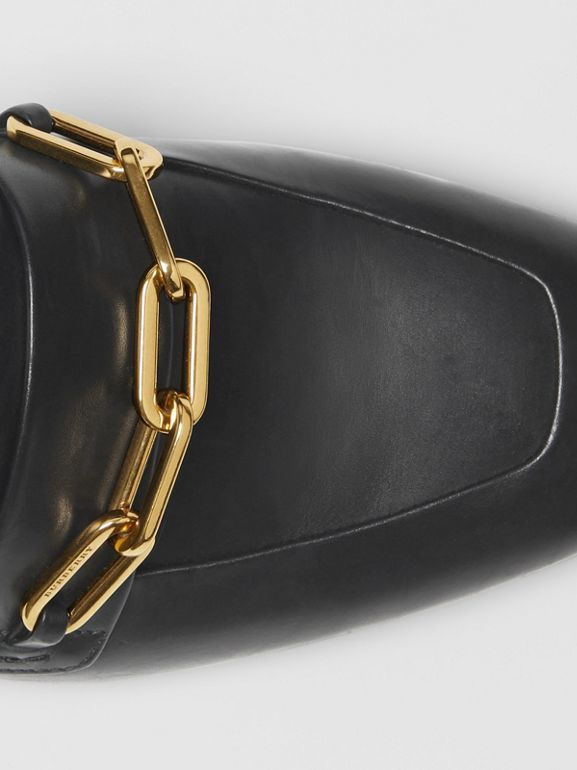 Link Detail Leather Slingback Loafers in Black - Women | Burberry - cell image 1