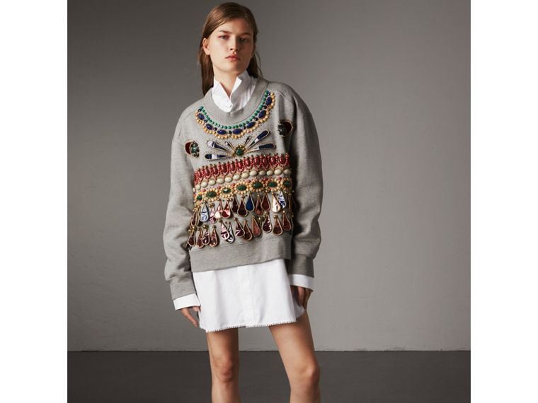 Gem-embellished Jersey Sweatshirt in Pale Grey Melange - Women | Burberry - cell image 4