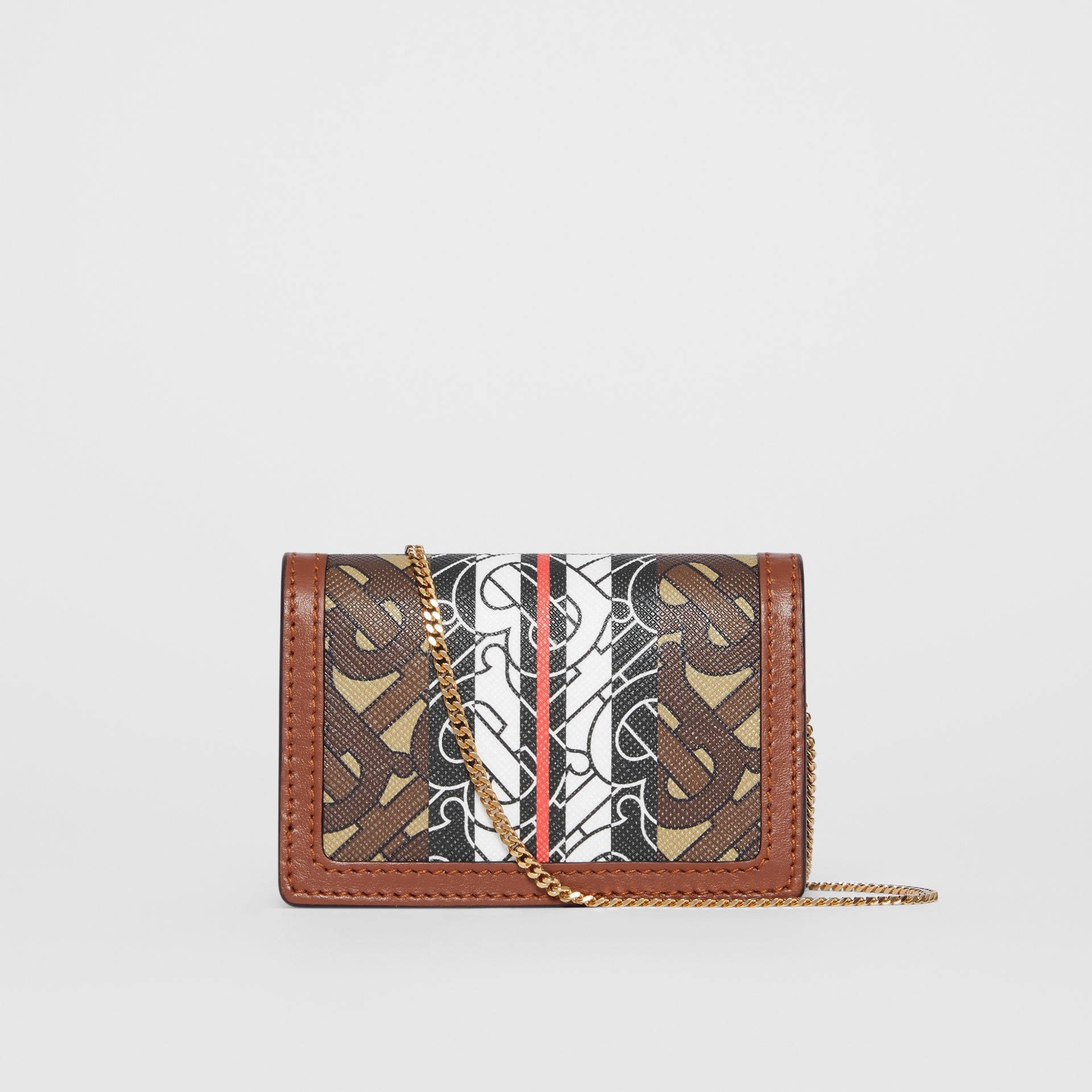 Monogram Stripe E-canvas Card Case with Strap in Bridle Brown | Burberry United Kingdom - gallery image 7