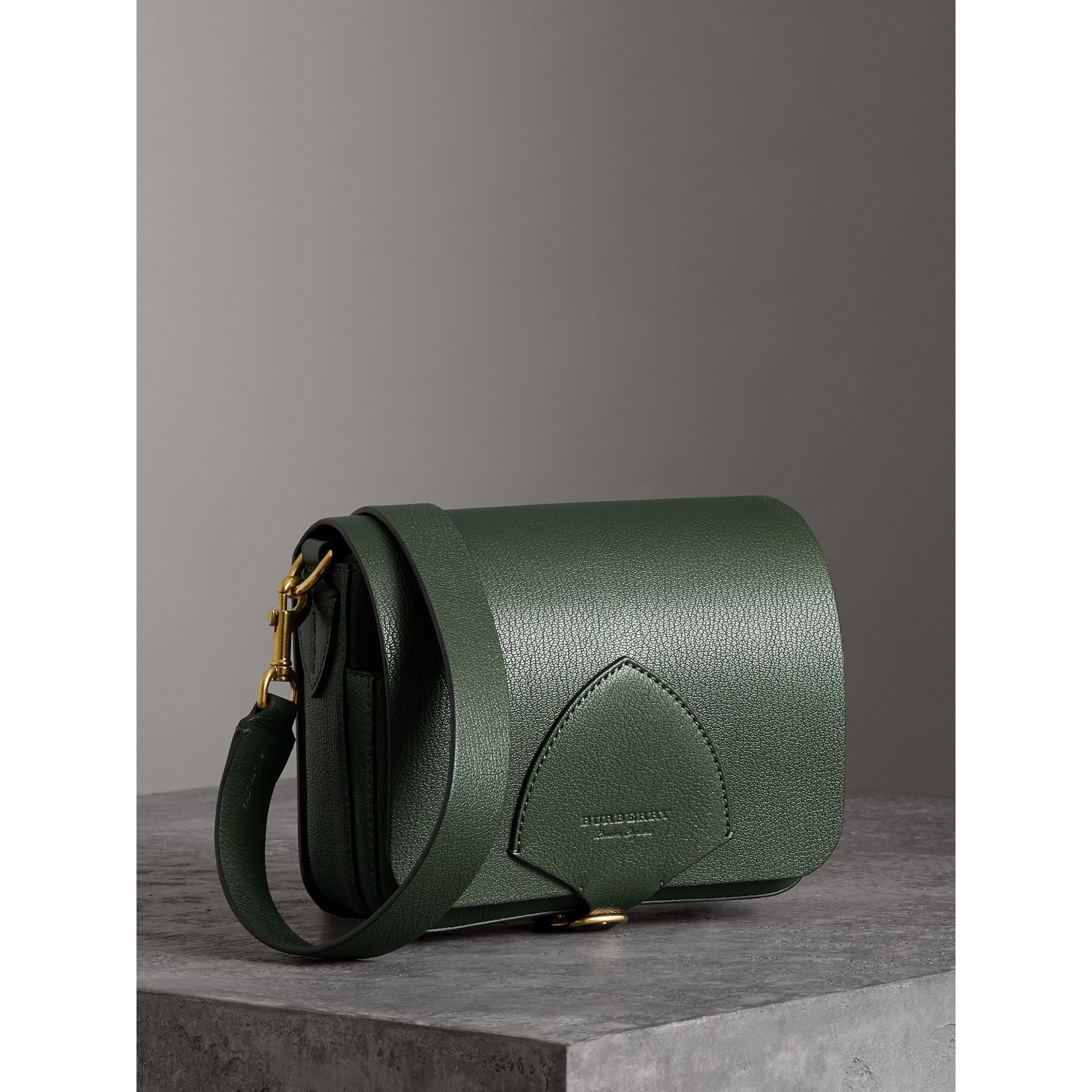The Square Satchel in Leather in Dark Forest Green - Women | Burberry Australia - gallery image 4