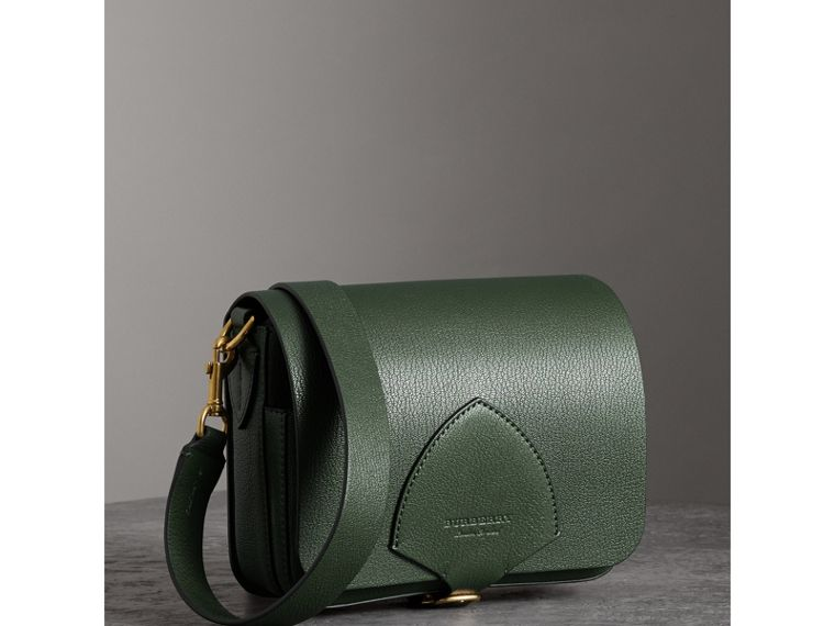 The Square Satchel in Leather in Dark Forest Green - Women | Burberry Australia - cell image 4