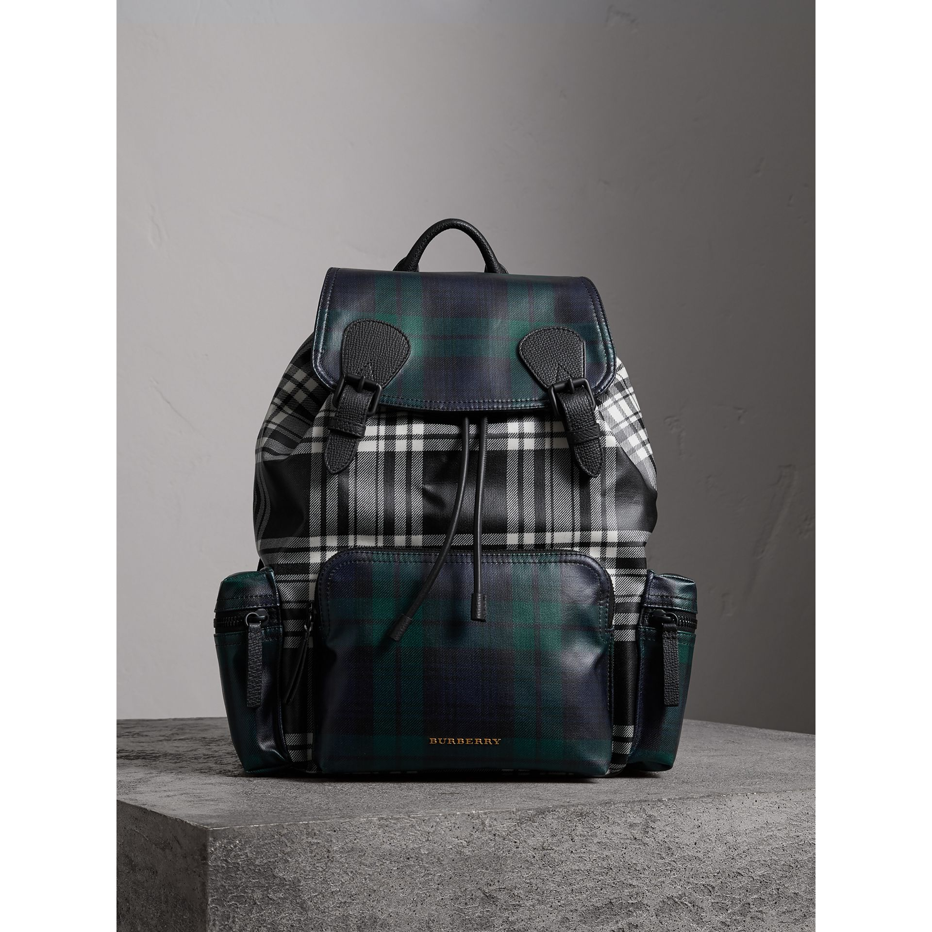 The Large Rucksack in Laminated Tartan in Black/white - Men | Burberry Singapore - gallery image 4