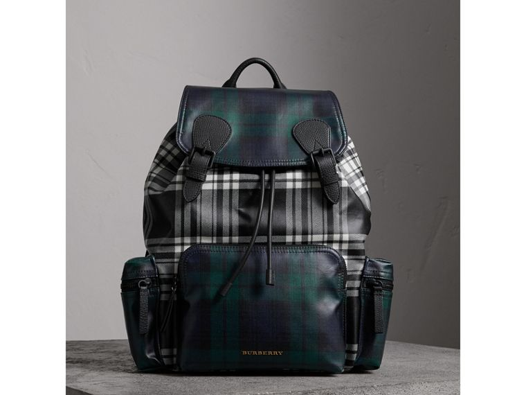 The Large Rucksack in Laminated Tartan in Black/white - Men | Burberry - cell image 4