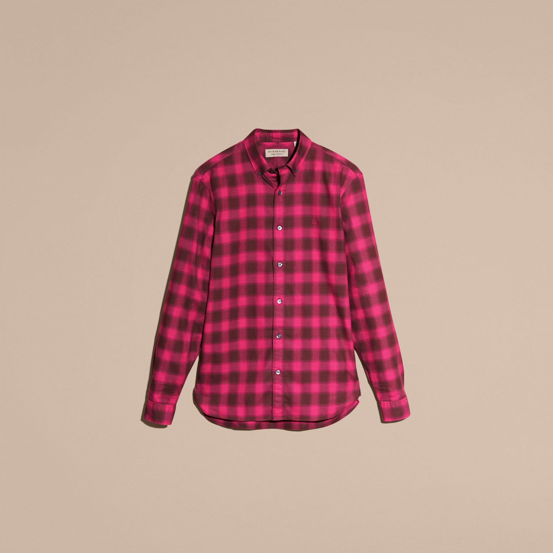 Bright rose Gingham Check Cotton Shirt Bright Rose - gallery image 4