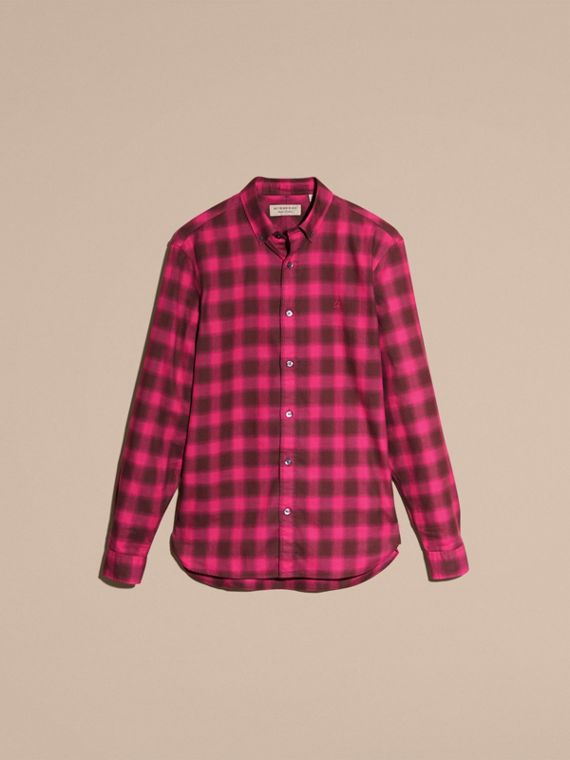 Bright rose Gingham Check Cotton Shirt Bright Rose - cell image 3