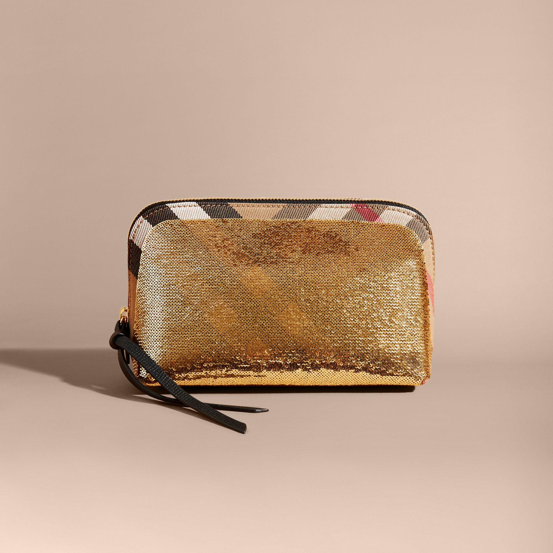 Large Zip-top Sequin and House Check Pouch in Gold/black - gallery image 6