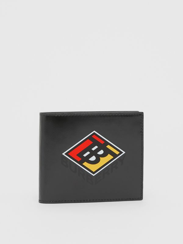 Logo Graphic Canvas International Bifold Wallet in Black - Men | Burberry Singapore - cell image 3