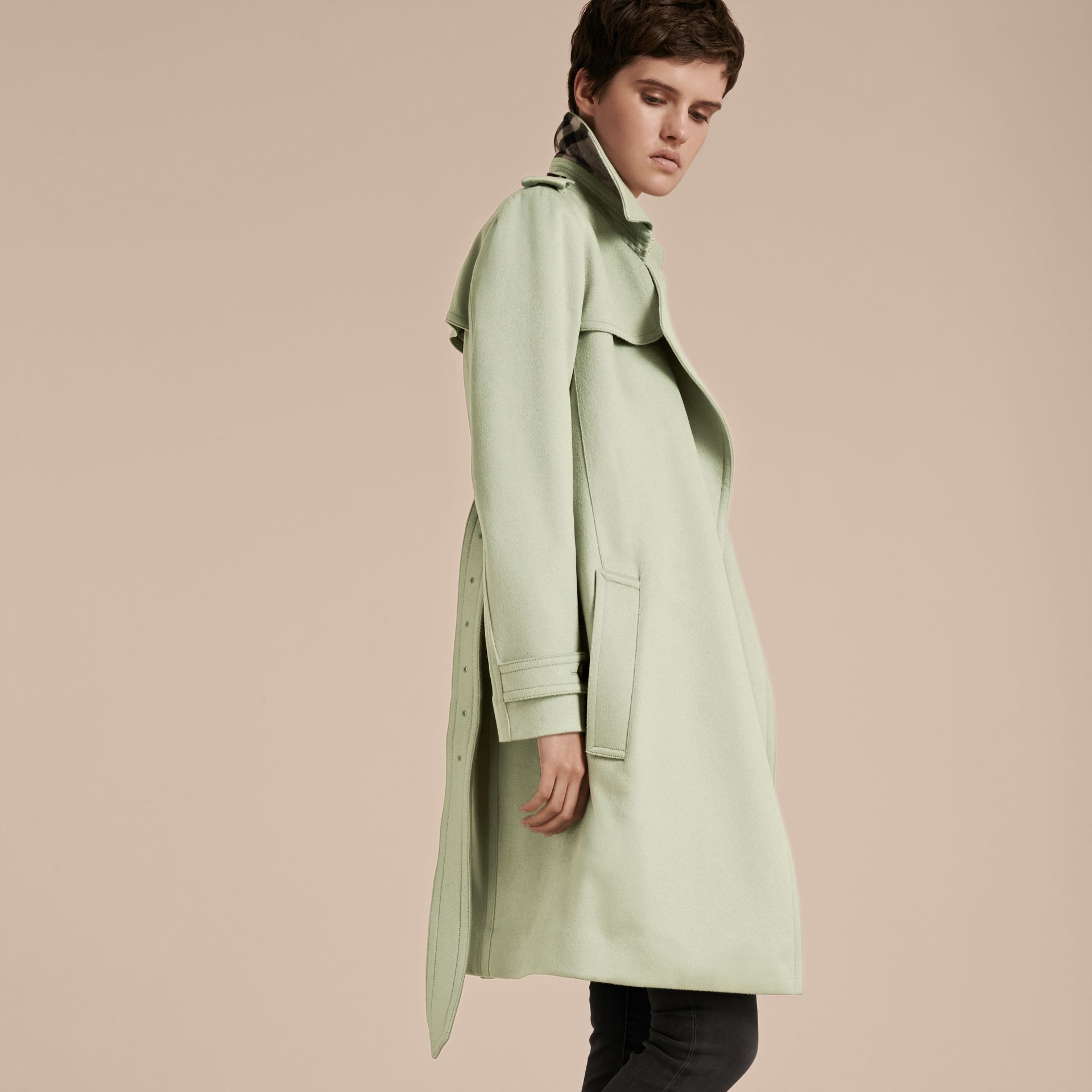Pale eucalyptus Cashmere Wrap Trench Coat - gallery image 7