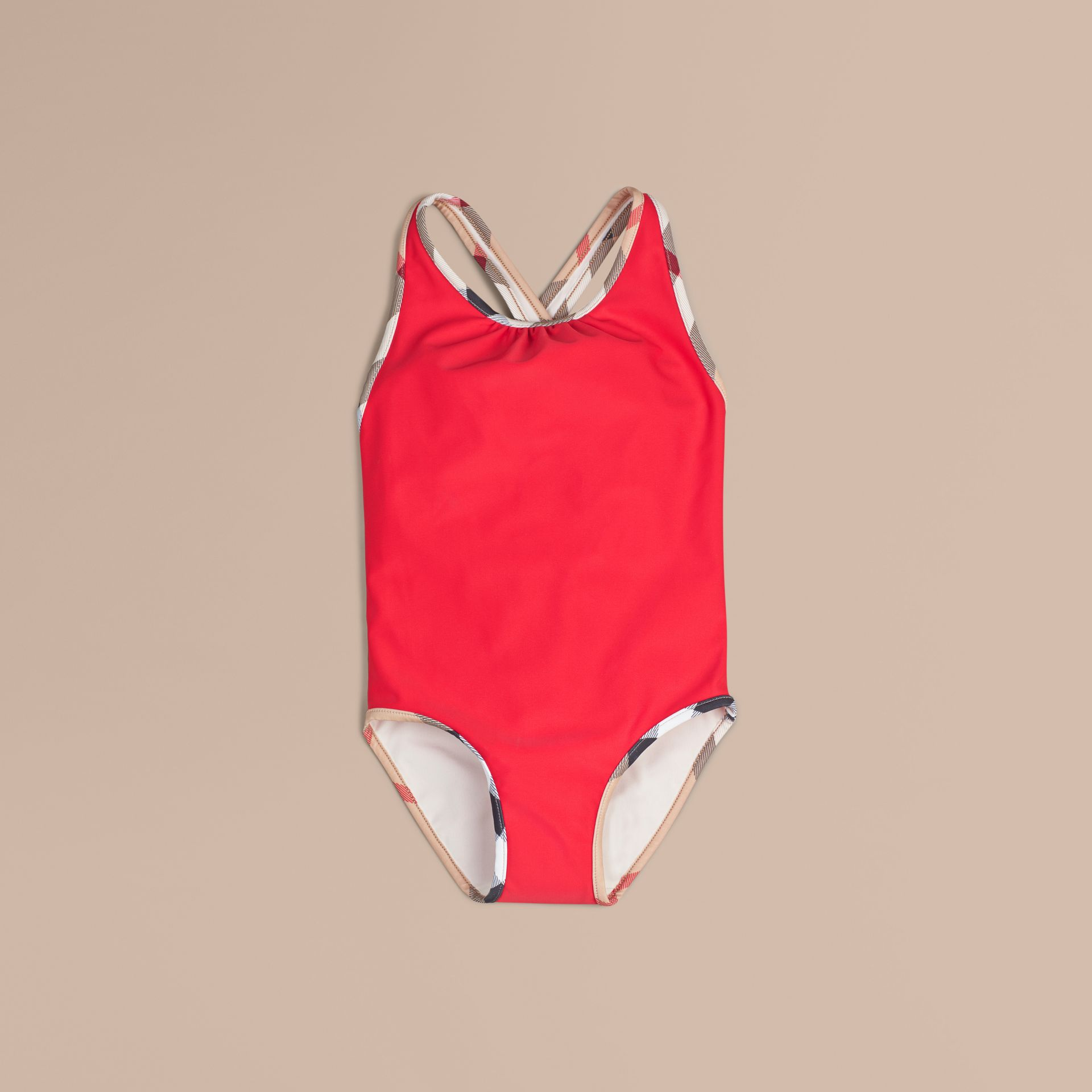 Check Detail One-piece Swimsuit in Poppy Red - Girl | Burberry - gallery image 1