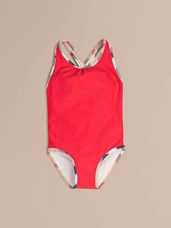 Check Detail One-piece Swimsuit in Poppy Red - Girl | Burberry