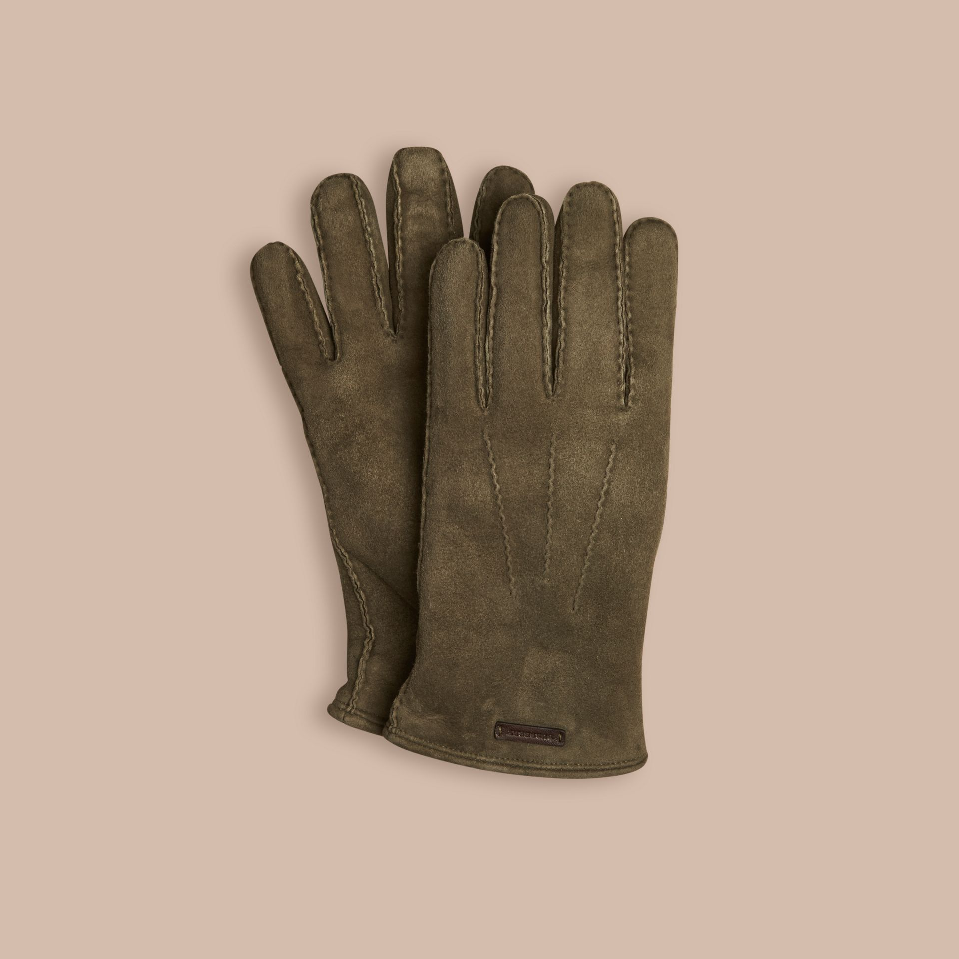 Military olive Shearling-lined Suede Gloves - gallery image 1