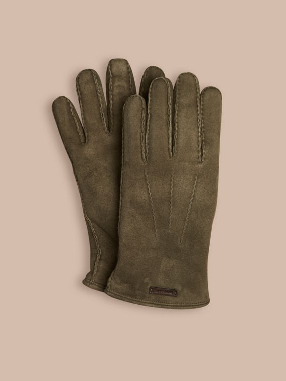 Shearling-lined Suede Gloves Military Olive