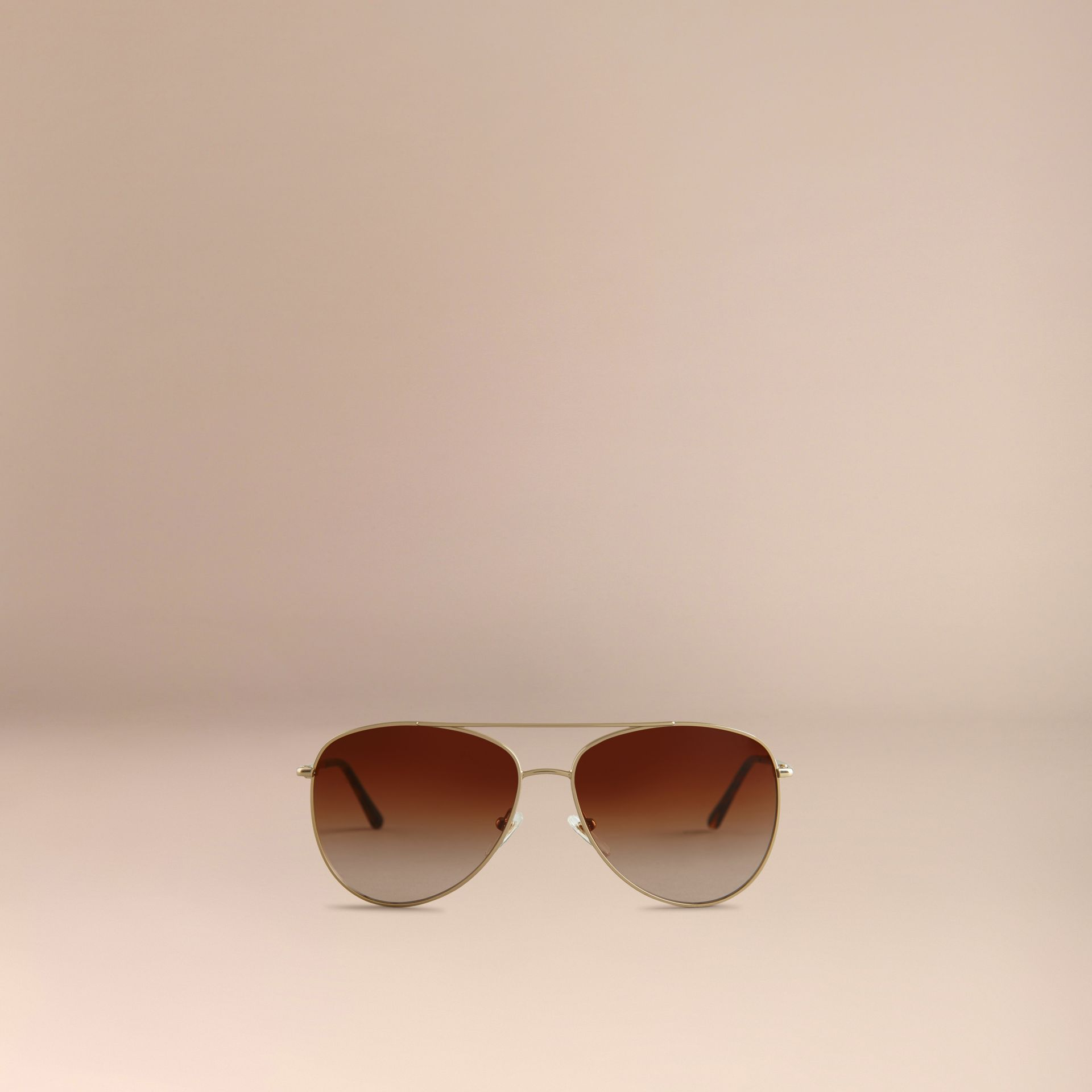 Pale gold Check Arm Aviator Sunglasses - gallery image 3