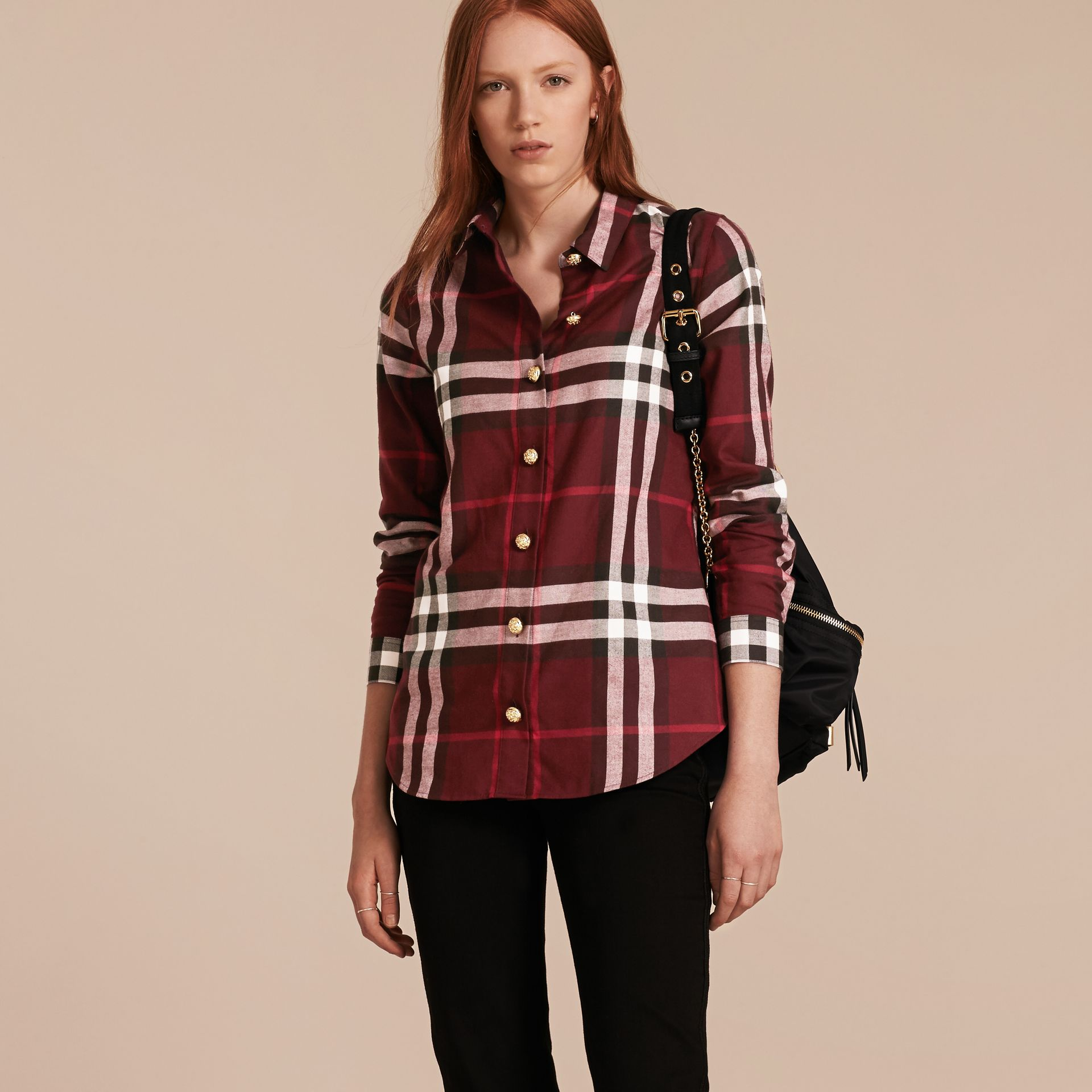 Claret Fitted Cotton Flannel Military Check Shirt - gallery image 6