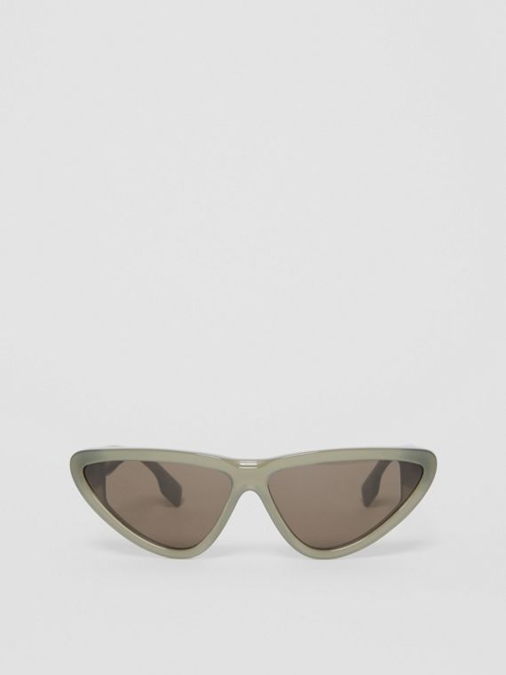 Triangular Frame Sunglasses in Opal Green
