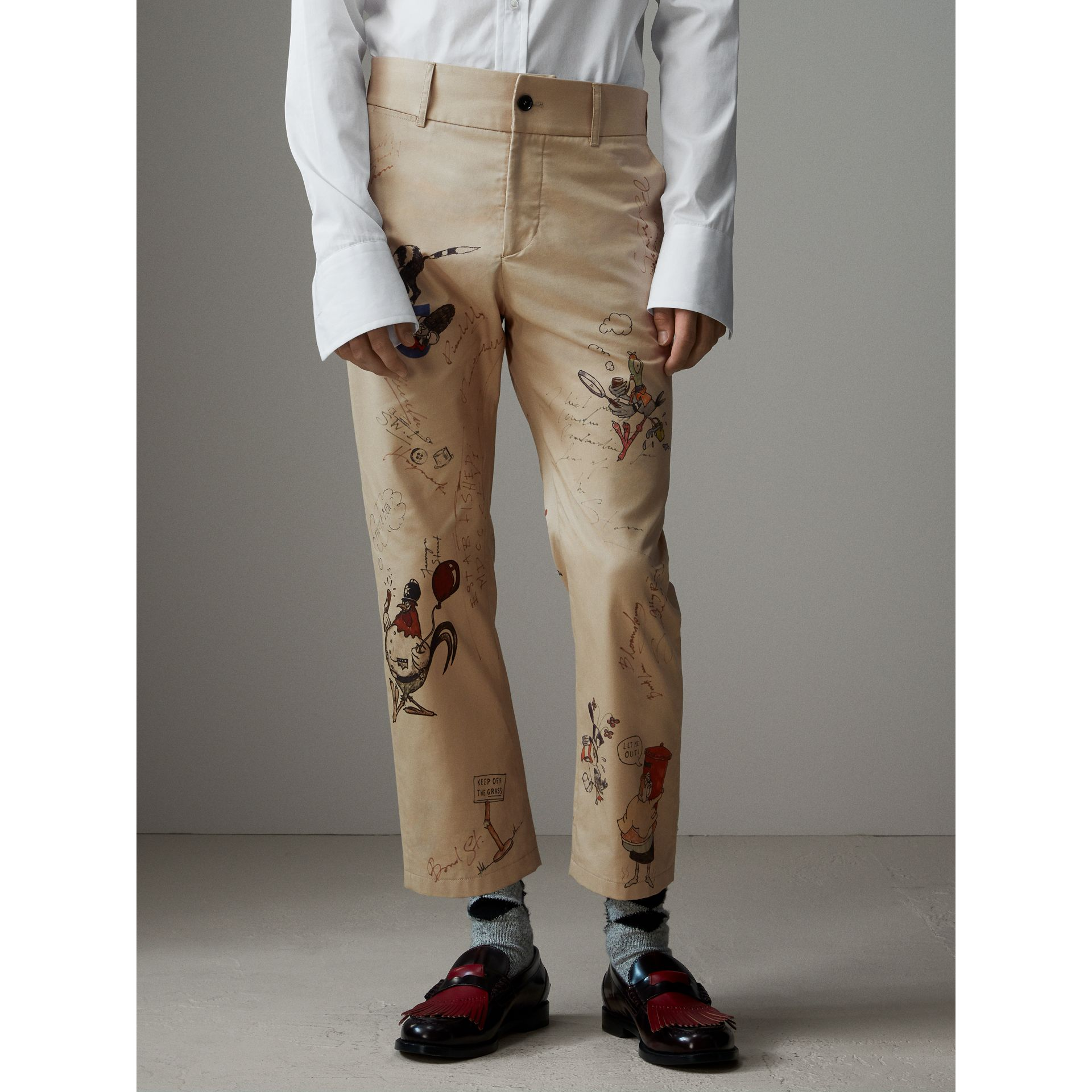 Sketch Print Cotton Cropped Chinos in Sand - Men | Burberry Singapore - gallery image 7