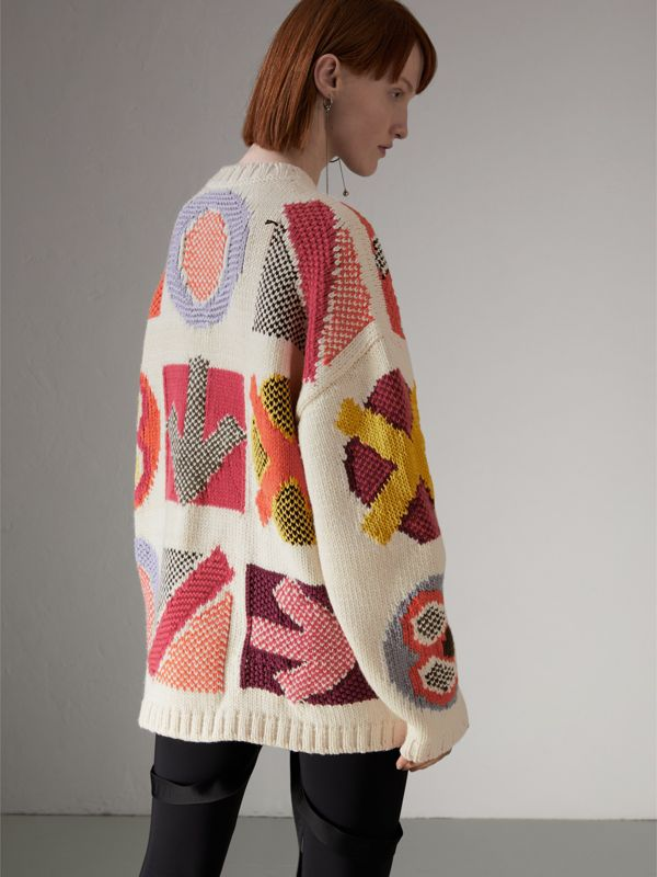 Motif Intarsia Wool Cashmere Blend Sweater in Natural White - Women | Burberry - cell image 2