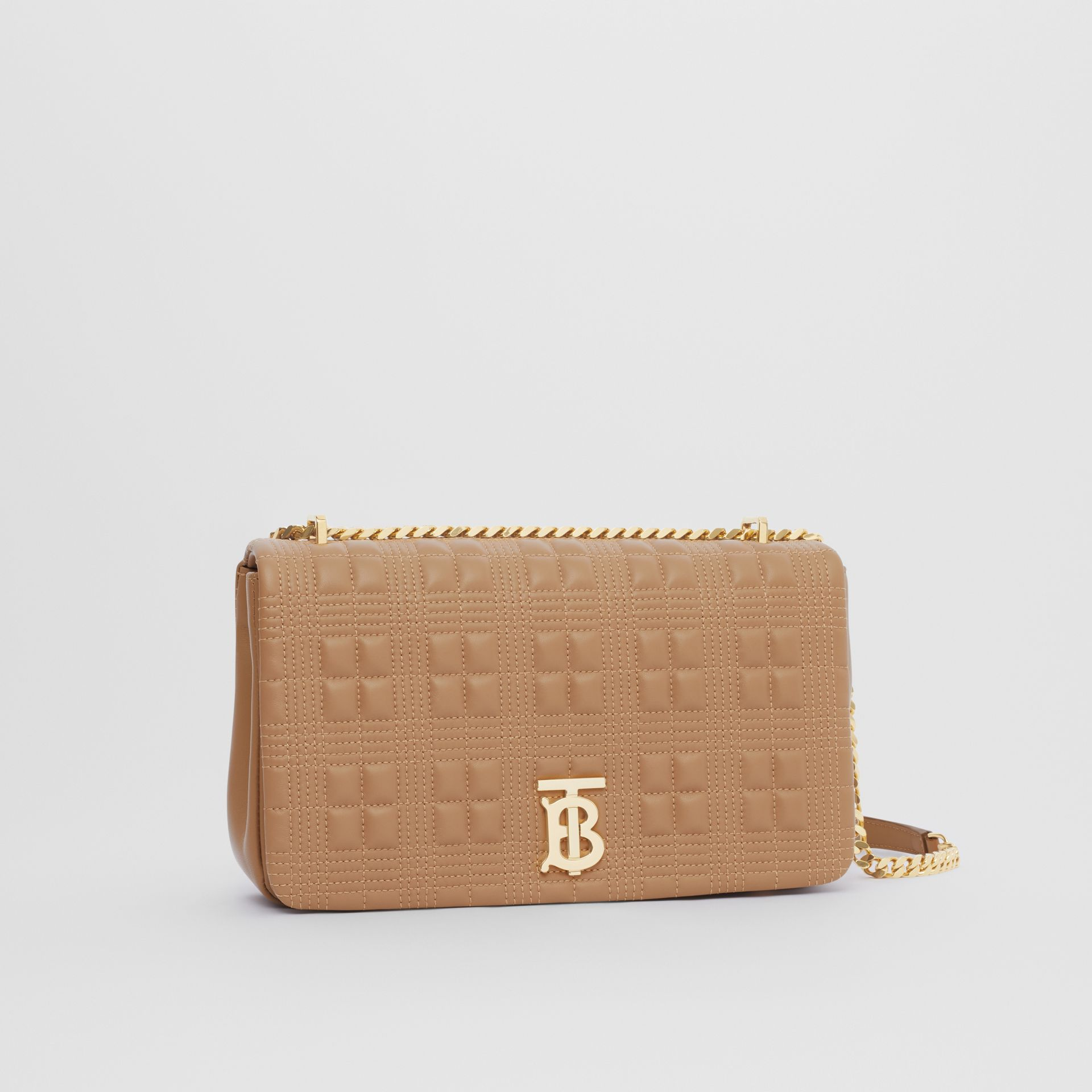 Medium Quilted Check Lambskin Lola Bag in Camel - Women | Burberry - gallery image 6