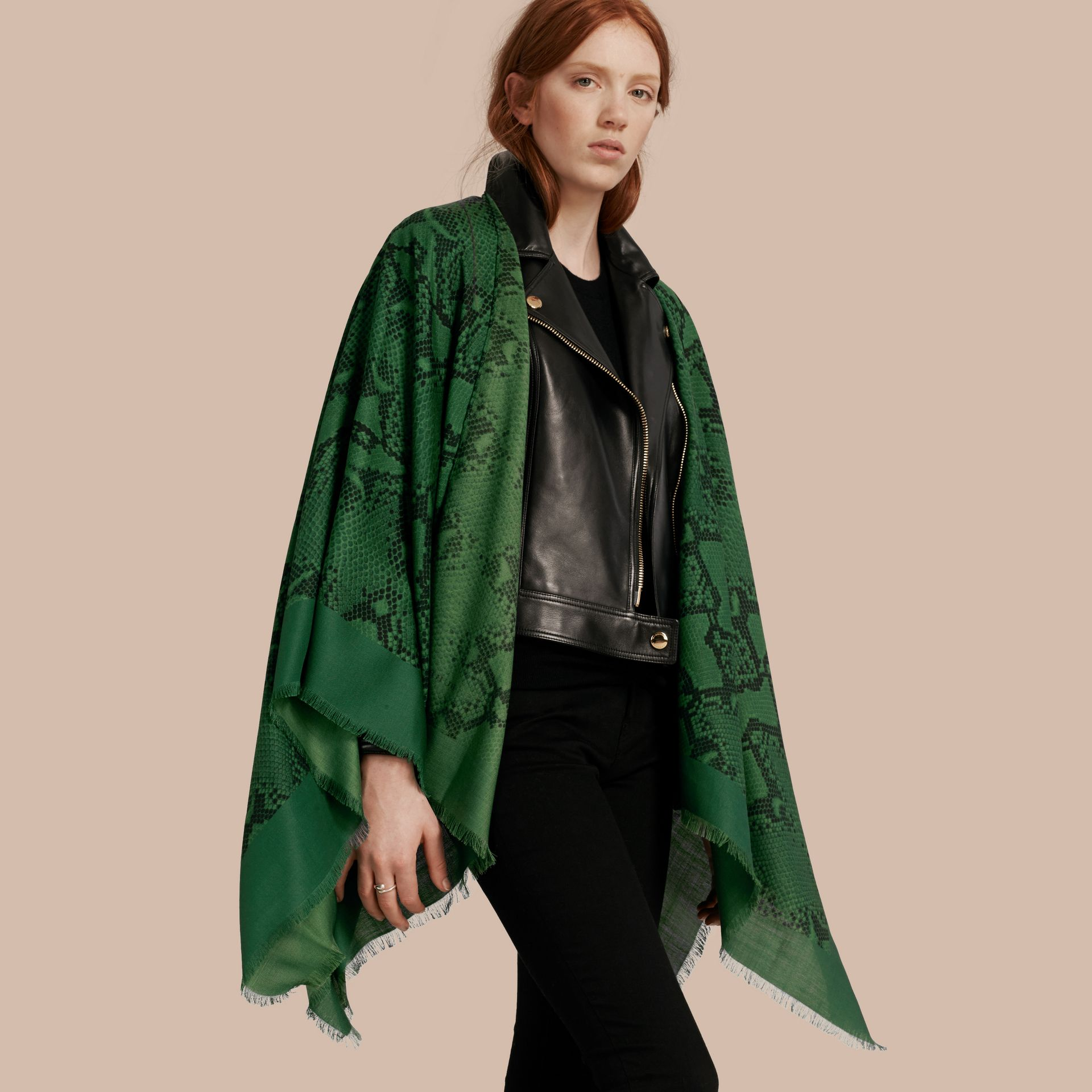 Bright green Lightweight Python Print Wool Cashmere Silk Poncho Bright Green - gallery image 1