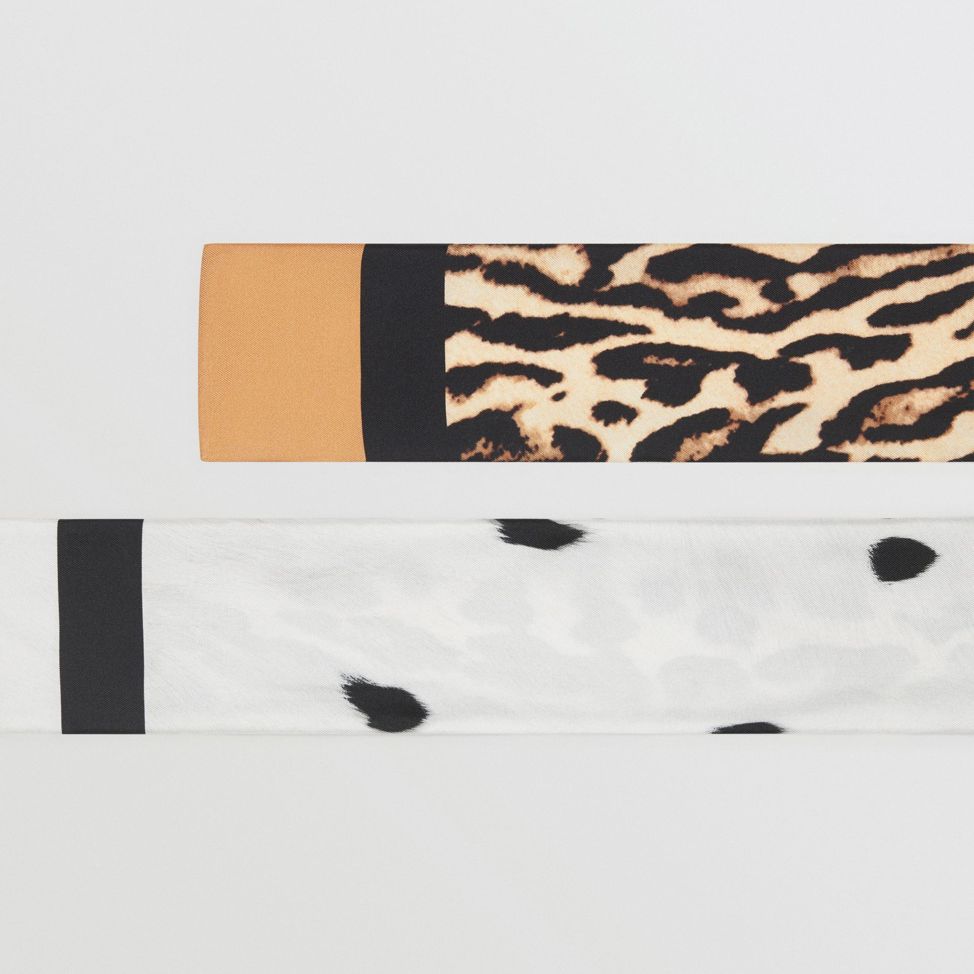 Animal Print Silk Skinny Scarf in White | Burberry Hong Kong S.A.R - gallery image 1