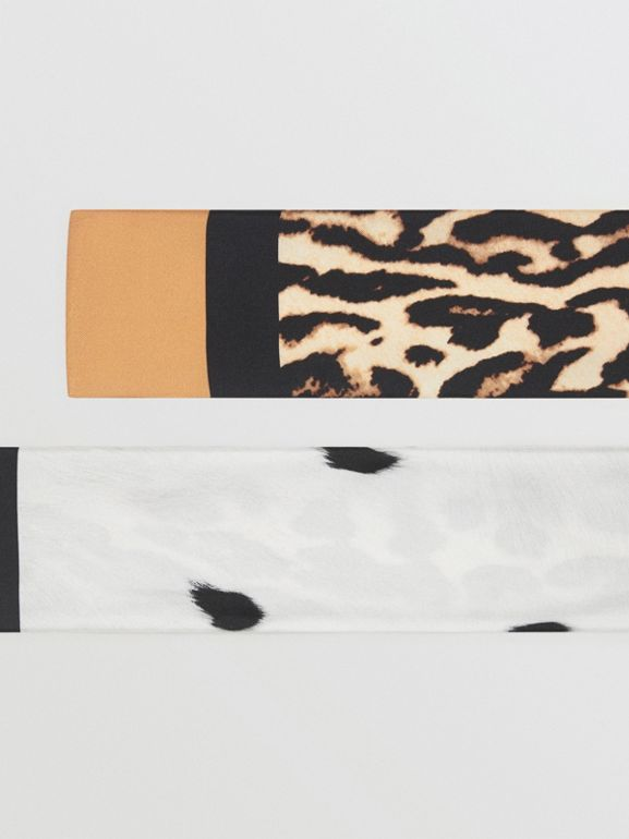 Animal Print Silk Skinny Scarf in White | Burberry - cell image 1