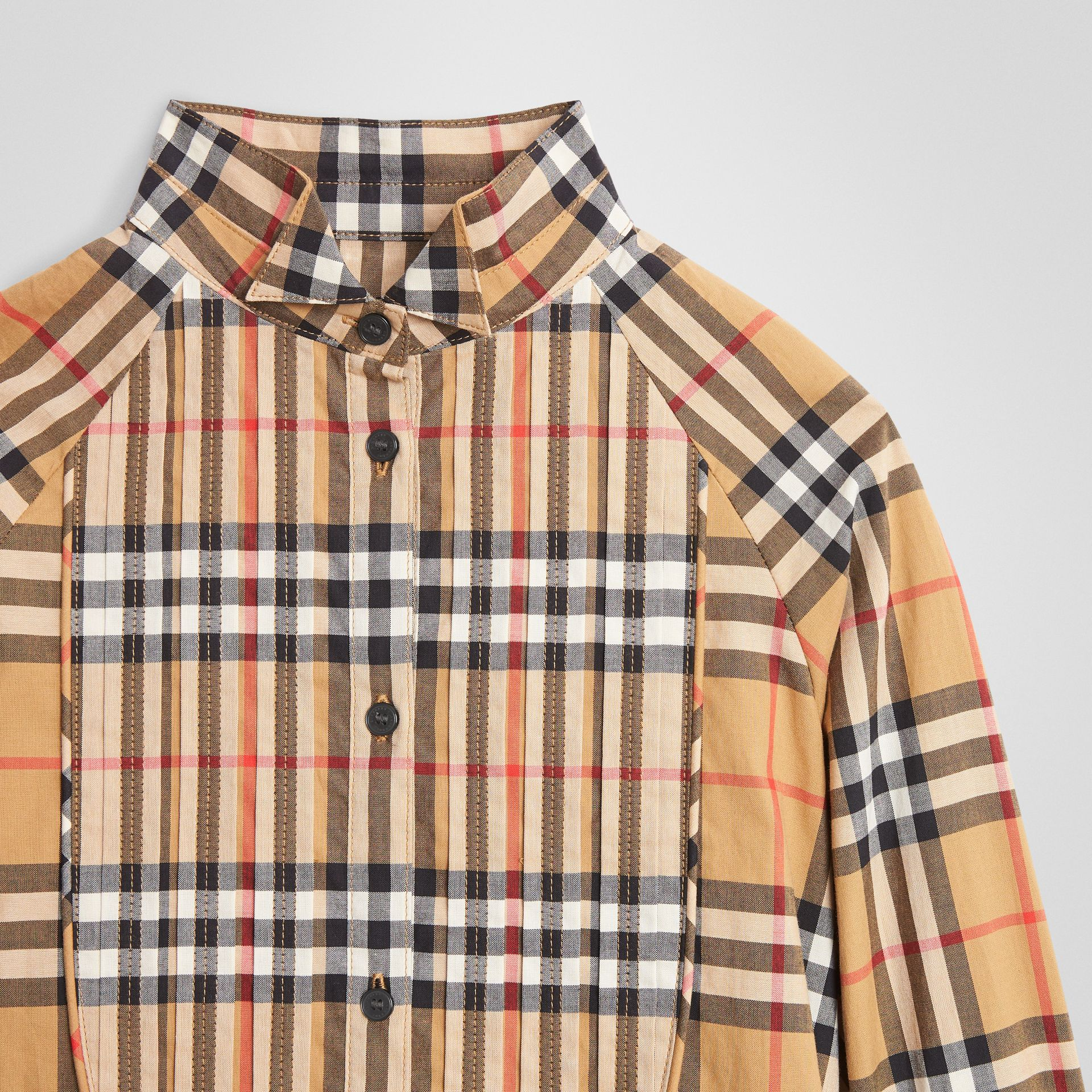Vintage Check Cotton Shirt Dress in Antique Yellow | Burberry United States - gallery image 4