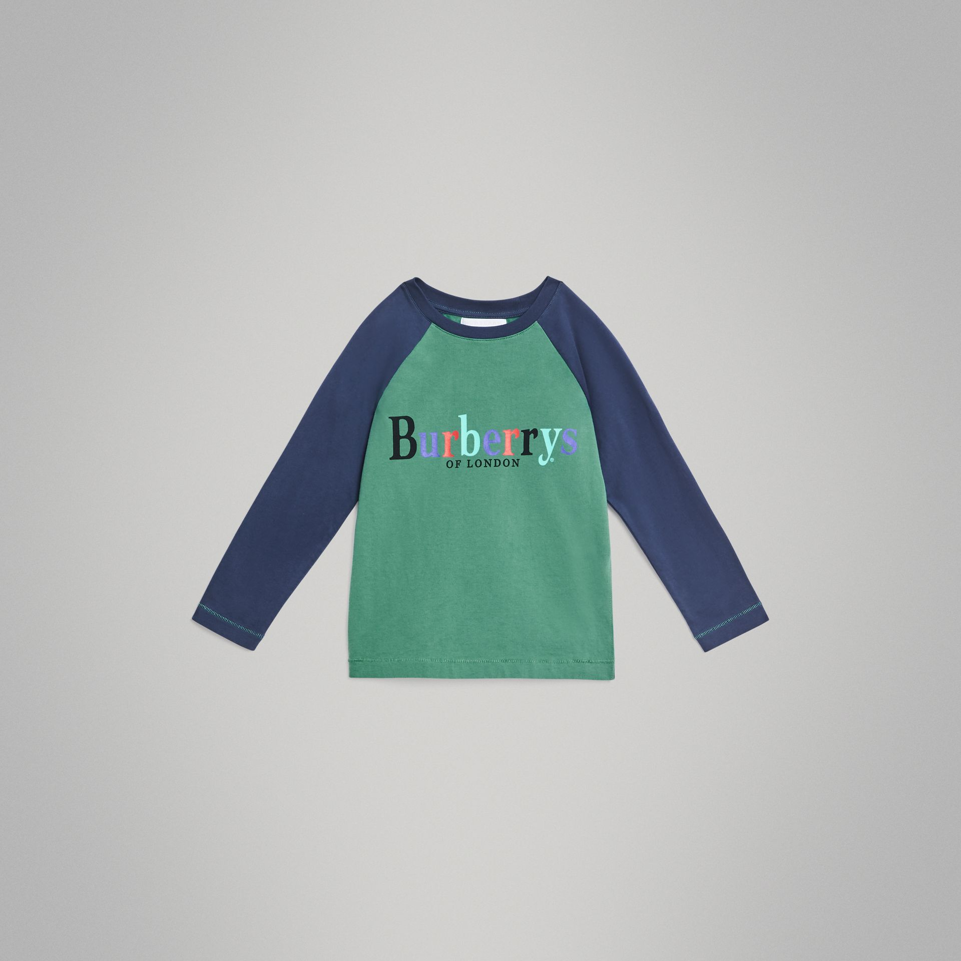 Archive Logo Print Two-tone Cotton Top in Bright Pigment Green | Burberry Australia - gallery image 0