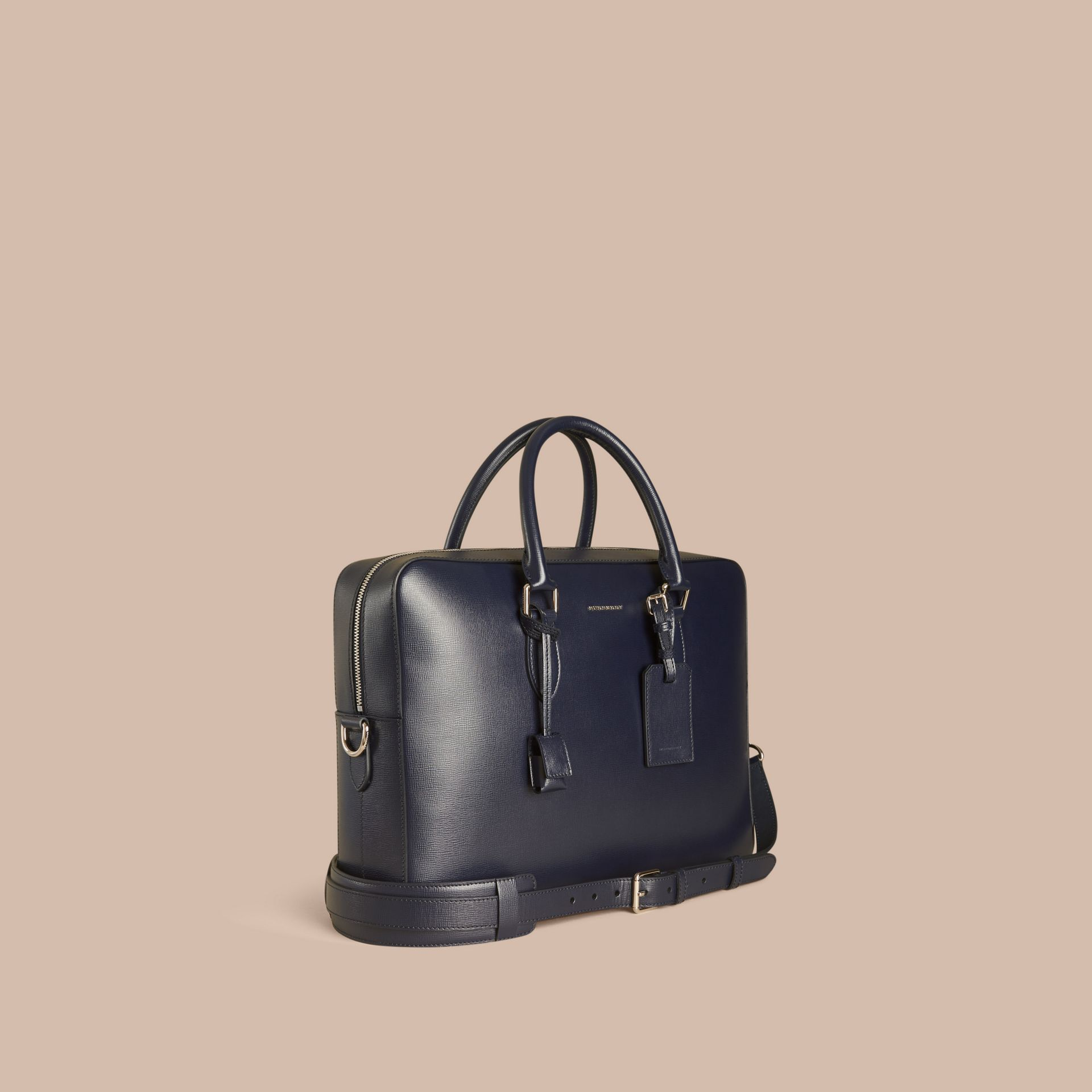 Large London Leather Briefcase in Dark Navy - gallery image 1