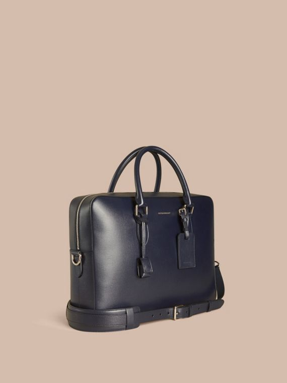 Grand attaché-case en cuir London Marine Foncé