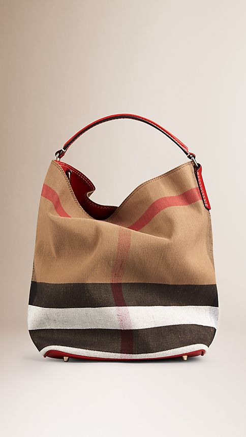 Cadmium red The Medium Ashby in Canvas Check and Leather - Image 1