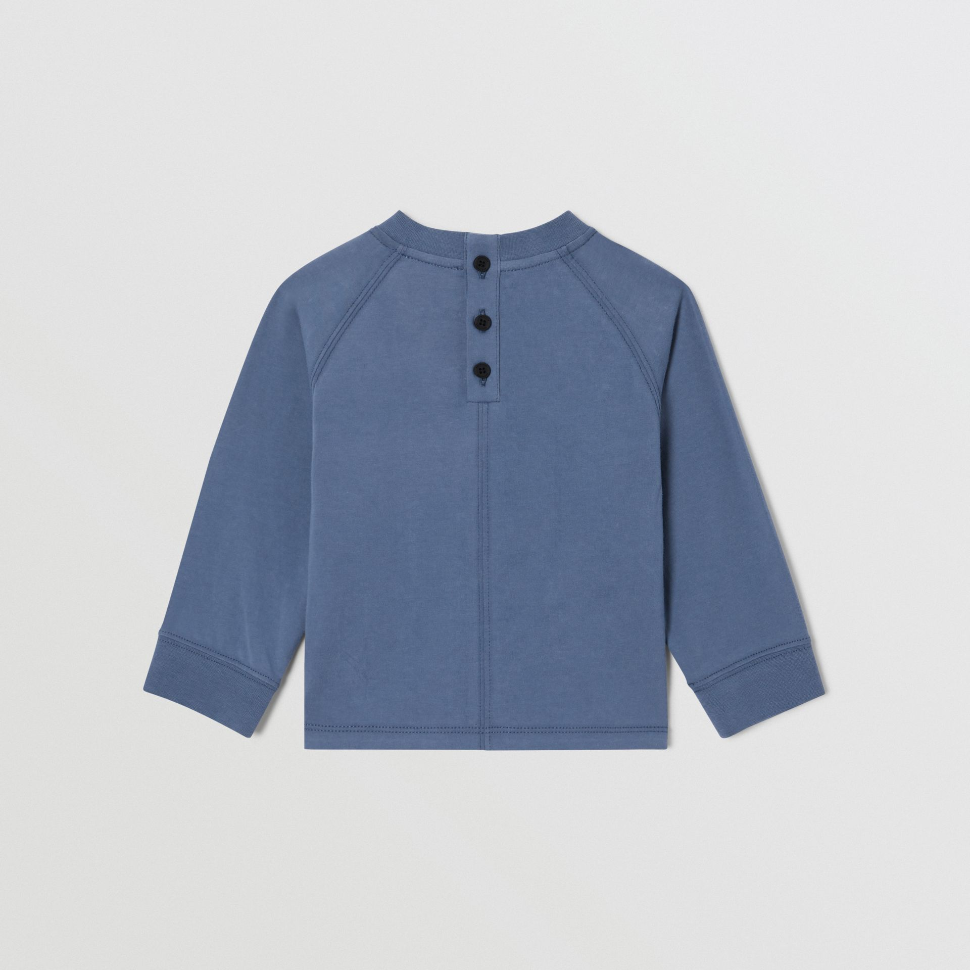 Long-sleeve Logo Print Cotton Top in Steel Blue - Children   Burberry United Kingdom - gallery image 3