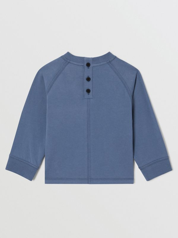 Long-sleeve Logo Print Cotton Top in Steel Blue - Children   Burberry United Kingdom - cell image 3