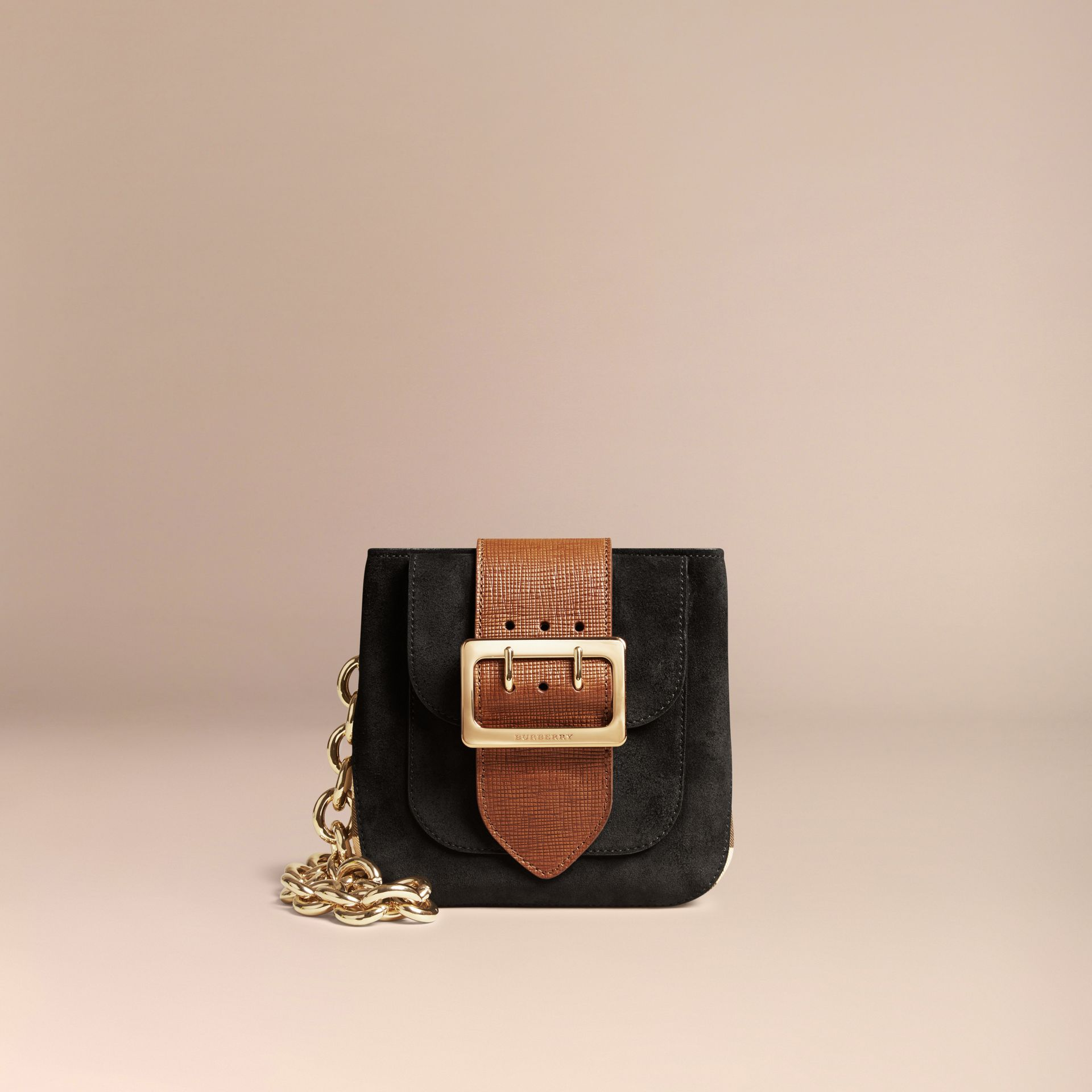 Black The Small Square Buckle Bag in English Suede and House Check - gallery image 7
