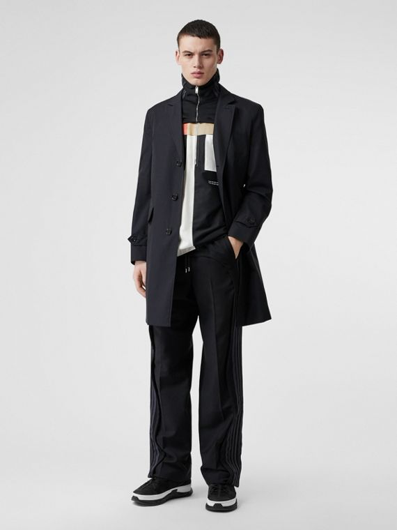 Cotton Gabardine Car Coat in Midnight