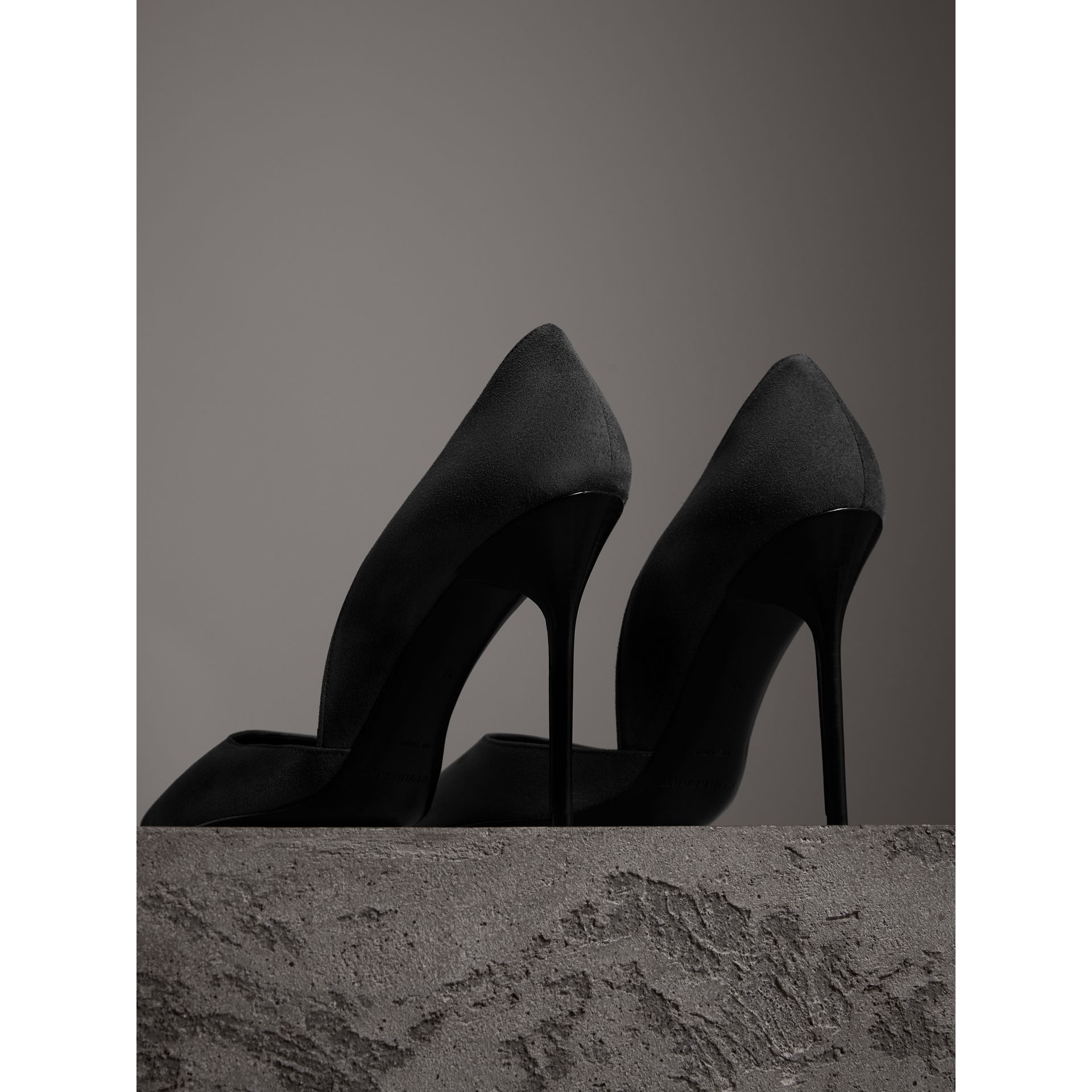 Cutaway Suede Pumps in Black - Women | Burberry - gallery image 3