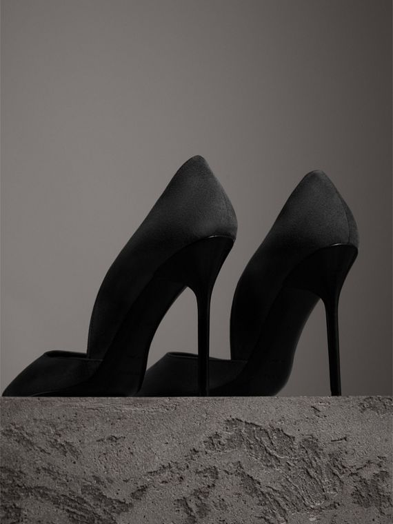 Cutaway Suede Pumps in Black - Women | Burberry - cell image 3