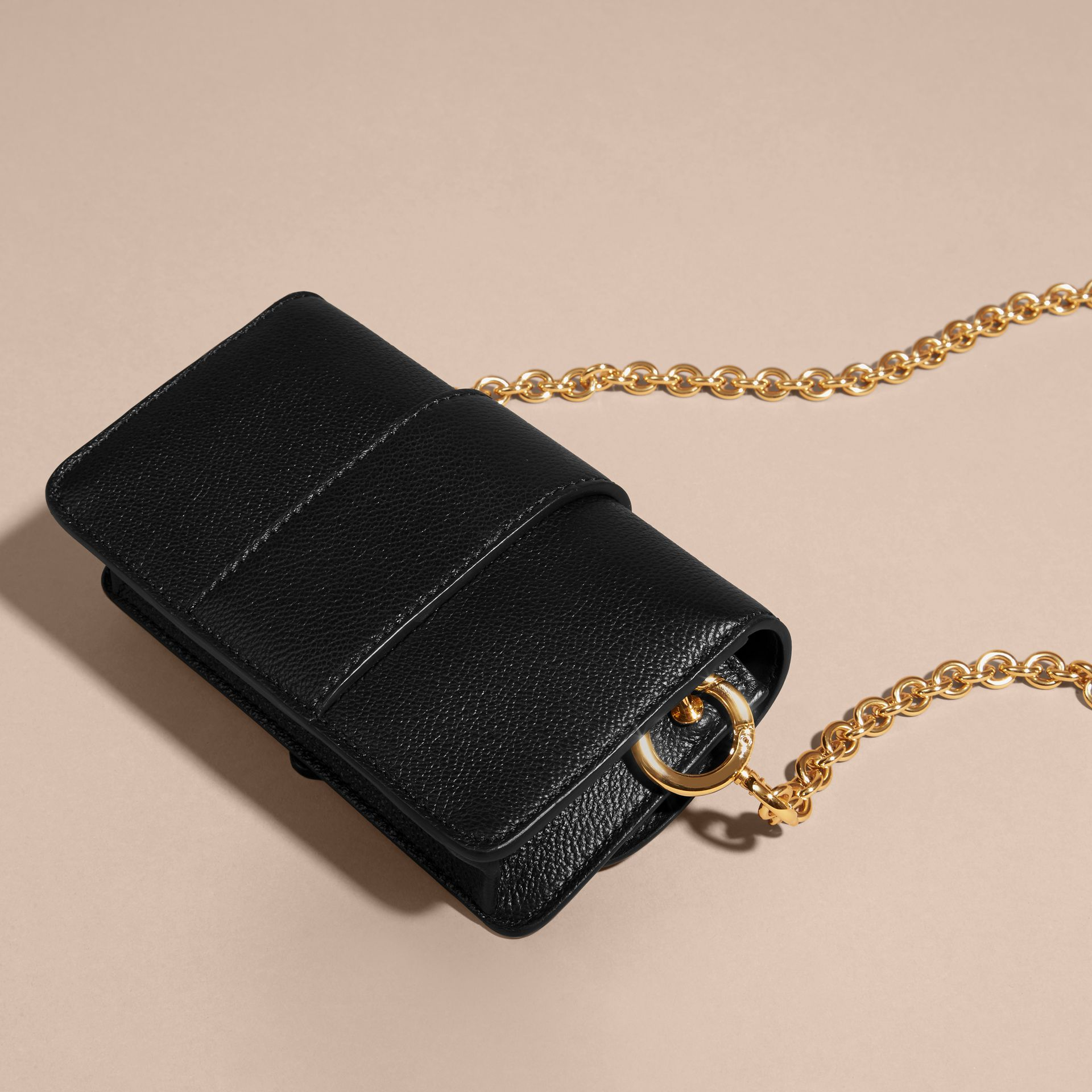 Black The Mini Buckle Bag in Grainy Leather Black - gallery image 8