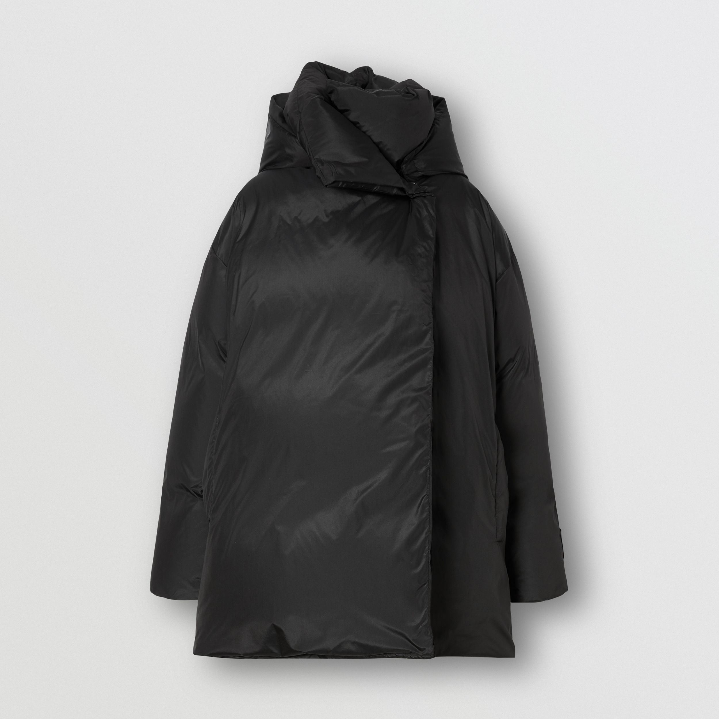 Detachable Hood Down-filled Oversized Wrap Coat in Black - Women | Burberry - 4