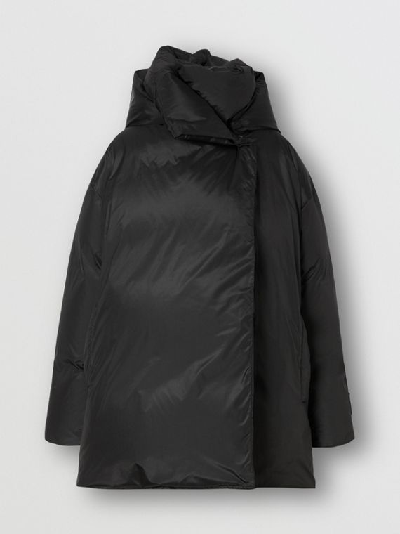 Detachable Hood Down-filled Oversized Wrap Coat in Black