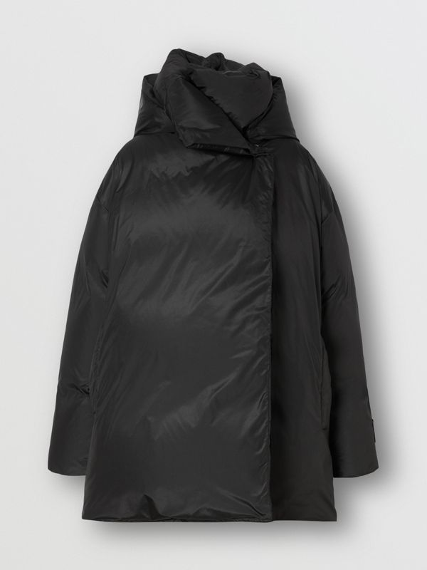 Detachable Hood Down-filled Oversized Wrap Coat in Black - Women | Burberry - cell image 3